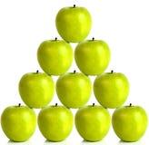 Green apples on a pyramid shape 3D illustration, 3D rendering vector illustration