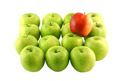 Green apples and a red one Royalty Free Stock Photos