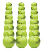 Green apples in row Royalty Free Stock Photo