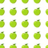 Green apples seamless background. Pattern with organic and eco fruits. Vector Royalty Free Illustration