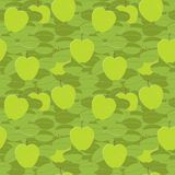 Green apples seamless ornament Stock Photos