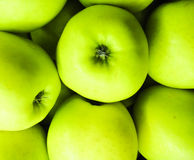 Green apples of Serbia. Market place Stock Photo