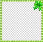 Green apples square frame with festive bow. Green apples square photo frame or bordering with festive bow ribbon in corner isolated on transparent. Vector Royalty Free Stock Image