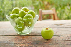 Green apples on table Royalty Free Stock Images
