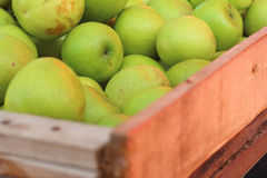 Green apples on a table at the market Stock Photos