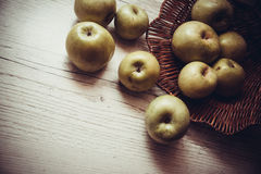 Green apples under contrast lightning Stock Photography