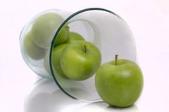 Green Apples in Vase aka Fruitbowl Stock Images