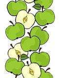 Green apples vertical border on white fruit illustration. Delicious ripe green apples isolated on white background colorful fruit seamless vertical border Stock Photo