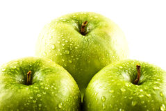 Green apples with water drops Royalty Free Stock Images