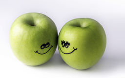 Green apples on a white background Royalty Free Stock Images