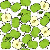 Green apples on white fruit seamless pattern Royalty Free Stock Images