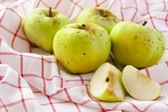 Green apples. On a white napkin Royalty Free Stock Image
