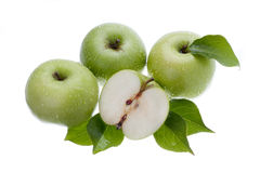 Green apples on white Royalty Free Stock Photo