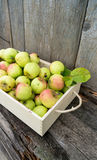 Green apples in wooden box Stock Photography