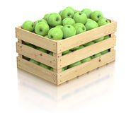 Green apples in the wooden crate Stock Photography