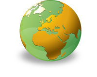 Green Aqua Globe. Globe showing Europe, Asia and Africa Stock Photo