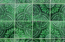 Green arabic ceramic tiles closeup Stock Images