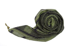 Green arabic scarf isolated on white background. The green arabic scarf isolated on white background Royalty Free Stock Photo