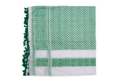 Green arabic scarf isolated on white background. The green arabic scarf isolated on white background Stock Photos