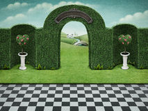 Green arch. Background with arch and green hearts with roses  on pedestal. Computer graphics Stock Image