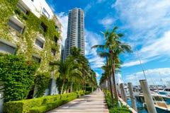 Green architecture, Miami Beach luxury condos and harbour, Miami, Florida, USA royalty free stock photo