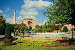 Green area around Hagia Sophia Stock Image