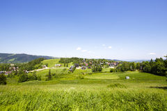 Green areas and houses in the city of Zakopane Stock Photo