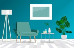 Green armchair against blue wall in living room interior with plants. Vector illustration. Vector illustration is drawn by shape stock illustration