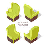 Green Armchair Illustration in Isometric Projection Stock Images