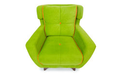 Green armchair isolated on the white Stock Photos