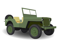 Green Army Jeep Vehicle. On White Royalty Free Stock Photos
