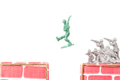 Green Army Man Escapes Royalty Free Stock Photo