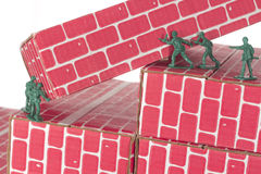 Green Army Men Teamwork Stock Photo