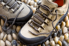 Green army outdoor hiking shoes Stock Photography