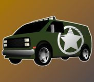 Green army van with silver wheels royalty free illustration