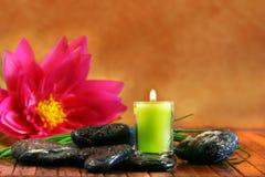 Green aromatherpy candle stock photo