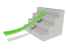 Green arrow. Pointing up a stair Royalty Free Stock Photos