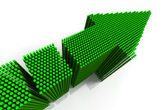 Green Arrow. 3D rendered green arrow composed of groups of cylinders in diminishing perspective, metaphor for synergy Stock Photos