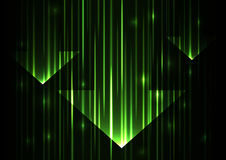 Green arrow abstract technology background. Bright speed abstract background, glowing line verticle abstract background, vector illustration Royalty Free Stock Image