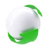 Green Arrow around a white sphere. Isolated render on a white background Royalty Free Stock Photography