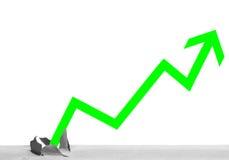 Green arrow through base line. Imagine profitable stocks Stock Image