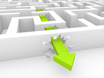 Green arrow breaking a way through labyrinth walls. 3d rendering royalty free illustration
