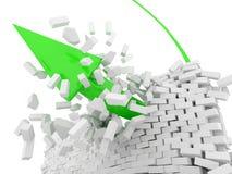 Green Arrow breaks a brick wall Stock Images