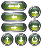 Green Arrow Buttons. A set of 8 shiny green arrow buttons with metallic borders Stock Photo