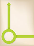 Green arrow and circle shaped ribbon. On pale background Royalty Free Stock Images