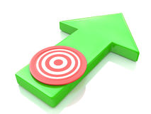 Green arrow direction to the target Royalty Free Stock Photo