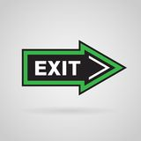 Green arrow with exit message Stock Photo