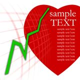 Green arrow graph and red heart. Green arrow graph on a white background and red heart Royalty Free Stock Images