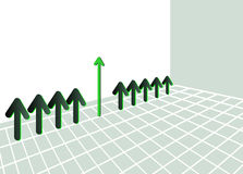 Green arrow graphic. Graphic of green arrows pointing up on green grid or matrix Royalty Free Stock Photo