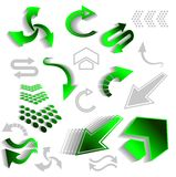 Green arrow icons Stock Images